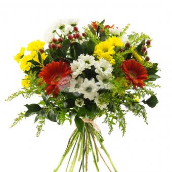 Букет с хризантемами, гермини и зеленью